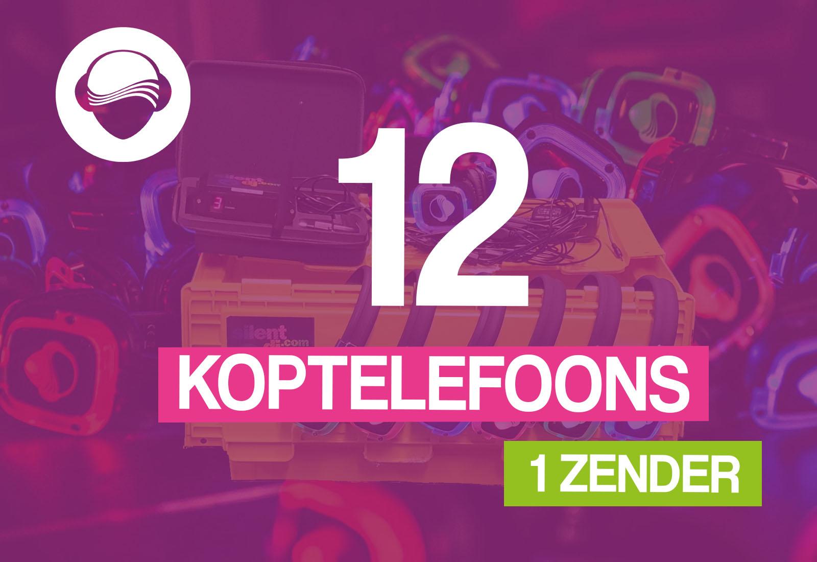 12 koptelefoons + 1 zender €75,-
