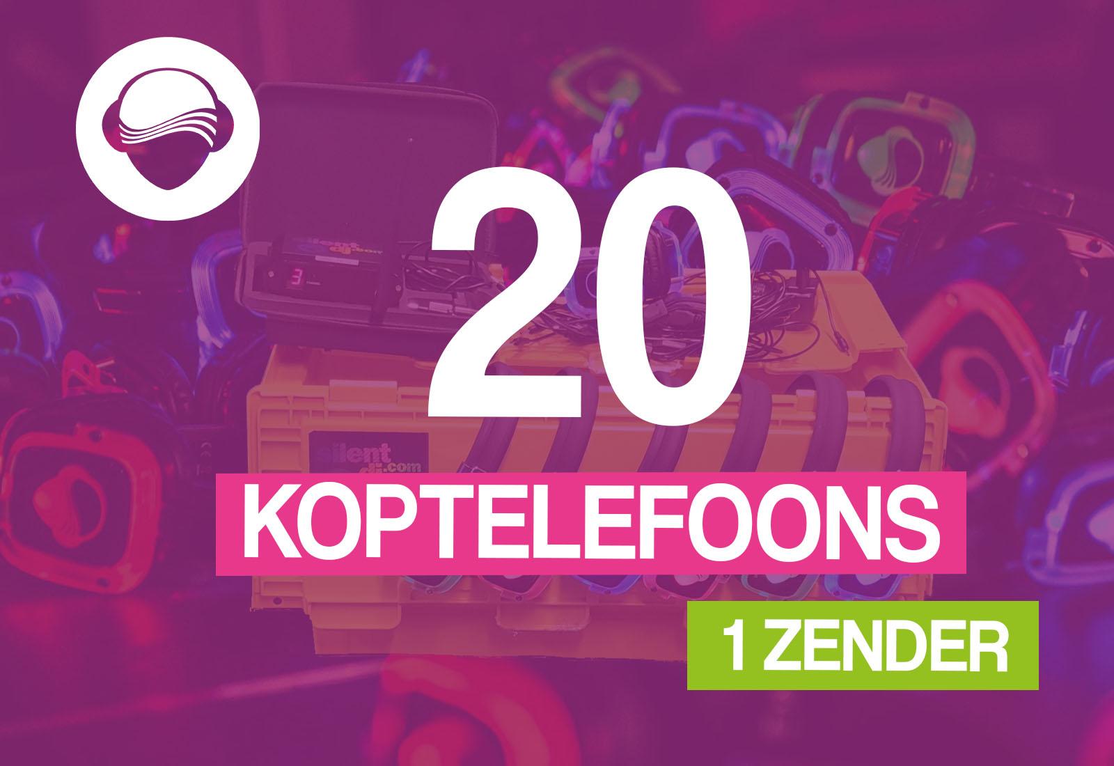 20 koptelefoons + 1 zender €95,-