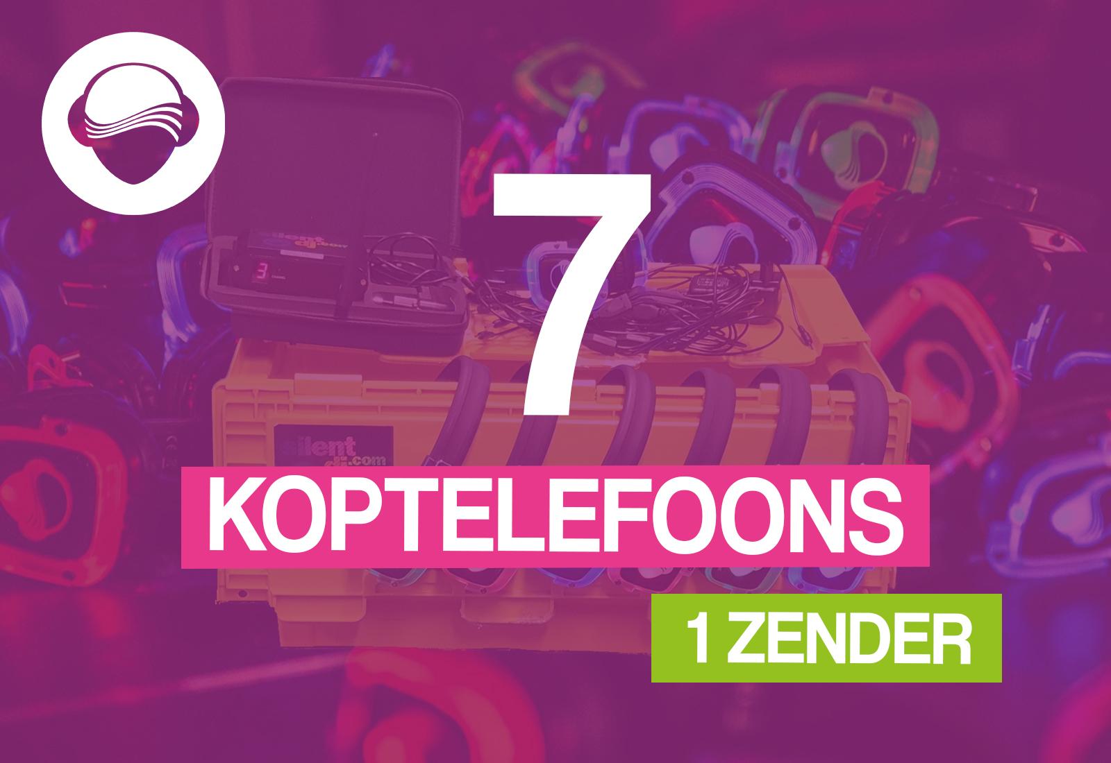 7 koptelefoons + 1 zender €50,-